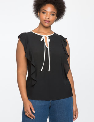 Ruffle Detail Tie Neck Top