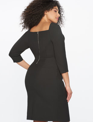 Seamed Sheath Dress with Sweetheart Neckline