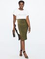 Asymmetrical Ruffle Skirt with Metallic Detail Black + Gold + Soft White