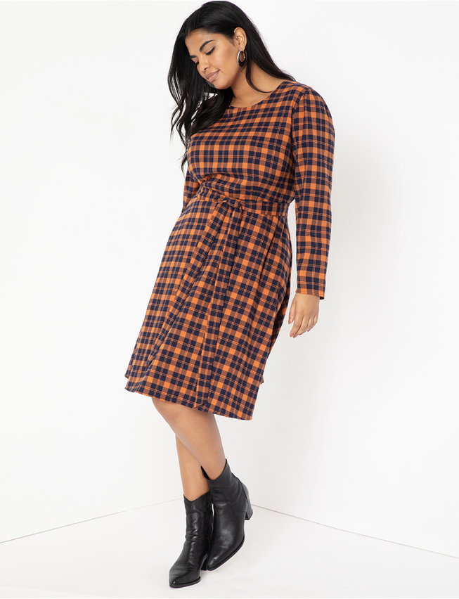 Plaid Fit and Flare Dress