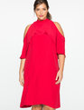 Cold Shoulder Mock Neck Dress JESTER RED