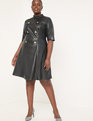 Faux Leather Mock Neck Military Dress Black