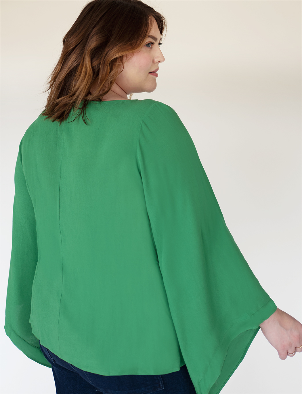 Flared Sleeve Boat Neck Top