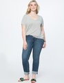 Pearl Embellished Cuff Jean Medium Wash