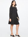 Cut Out Neckline Fit and Flare Dress BLACK