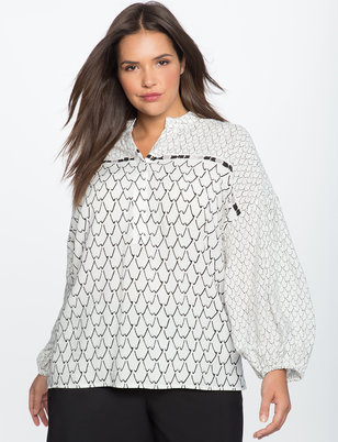 Printed Button Up Bishop Sleeve Blouse