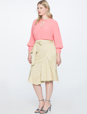 Asymmetrical Ruffle Skirt with Tie