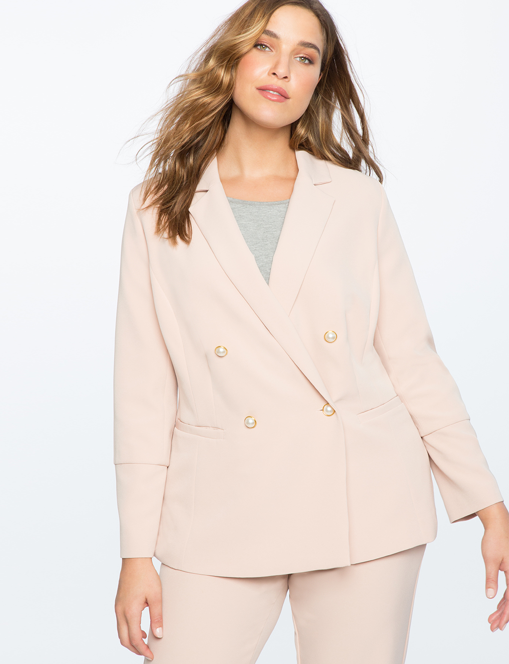 Pearl Button Double Breasted Blazer
