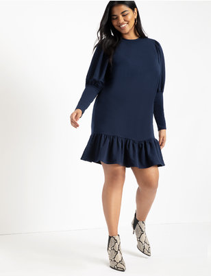 Flounce Hem Sweatshirt Dress