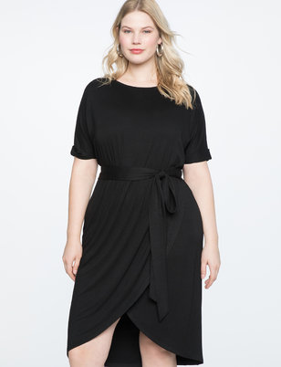 Belted Short Sleeve Wrap Dress