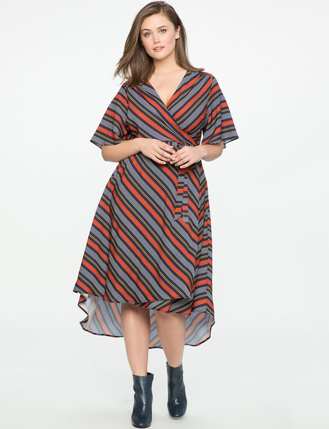 High Low Circle Sleeve Wrap Dress Womens Plus Size Dresses Eloquii
