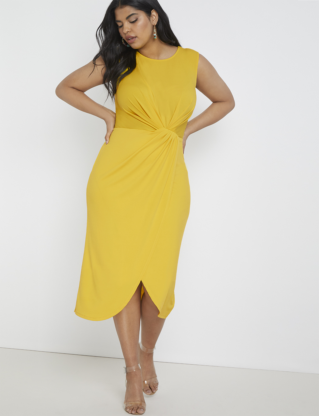 Draped Front Midi Dress | Women\'s Plus Size Dresses | ELOQUII