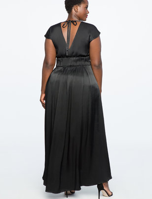 Drop Shoulder Gown with Slit