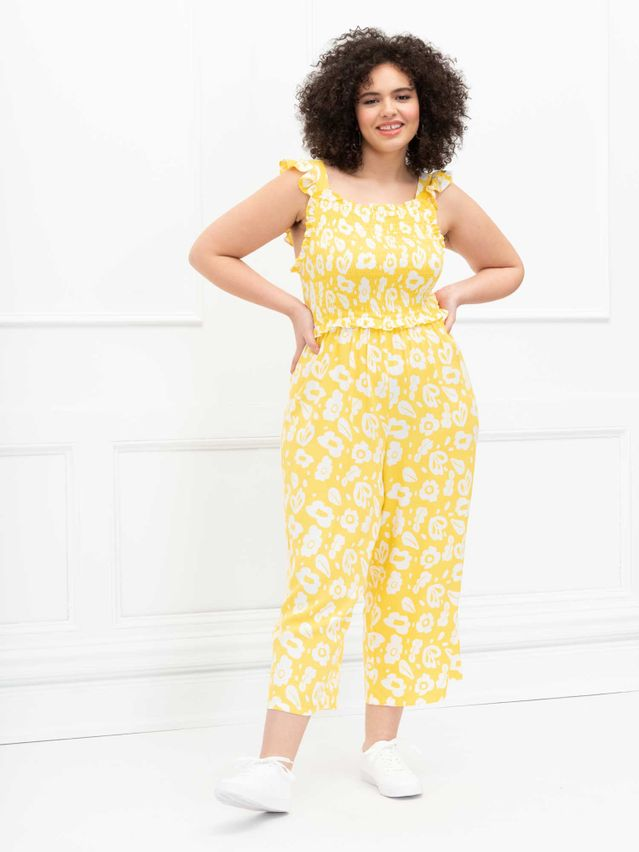 ELOQUII Elements Crop Jumpsuit With Smocked Bodice