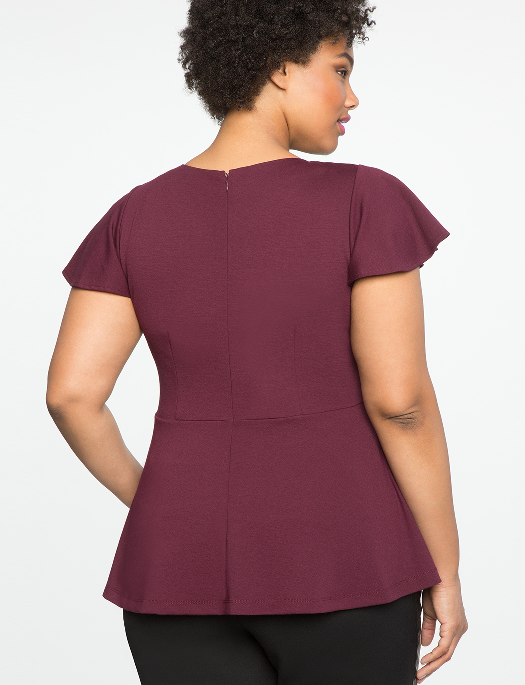 Pleated Neckline Peplum Top