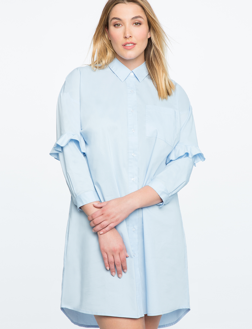 Oversized Button Down Dress | Women\'s Plus Size Dresses | ELOQUII