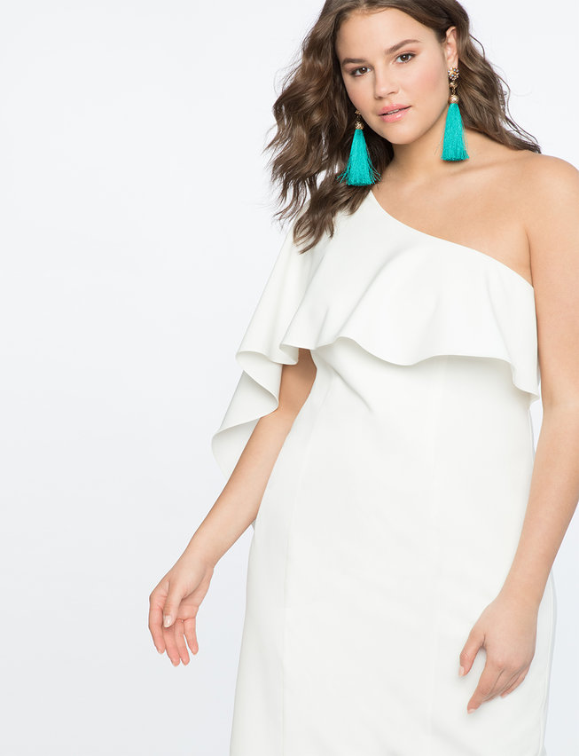 One Shoulder Dress with Flutter Detail
