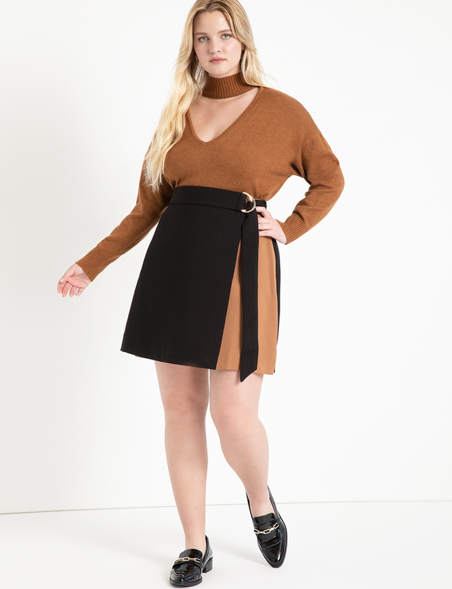 Colorblocked Skirt with Belt