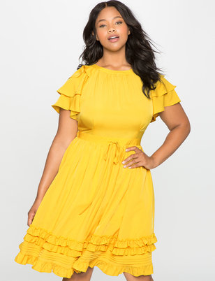 Ruffles and Pintucks Fit and Flare Dress