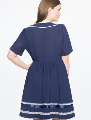 Studio Contrast Piping Dress