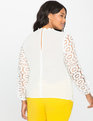 Studio Long Sleeve Crochet Lace Blouse Off White