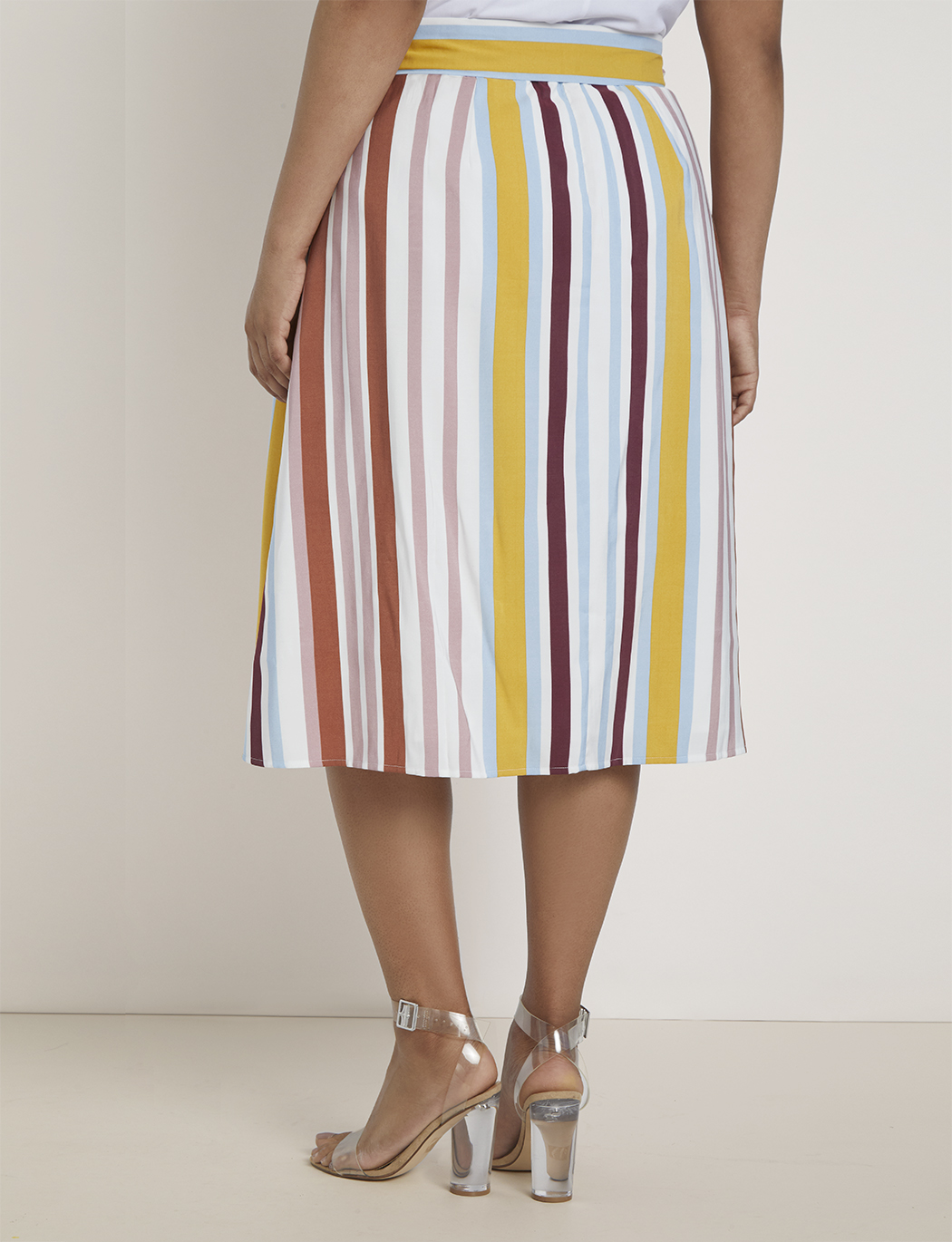 Stripe A-line Midi Skirt