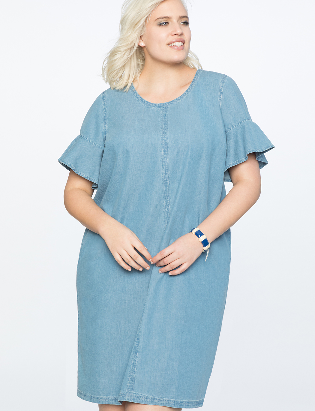 Chambray Easy Tee Dress with Bow Back