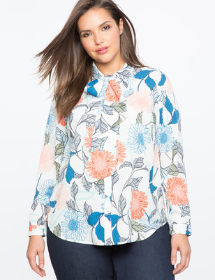 Printed High Low Bow Neck Blouse
