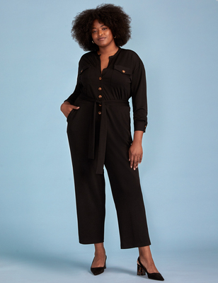 ELOQUII Elements Knit Utility Jumpsuit
