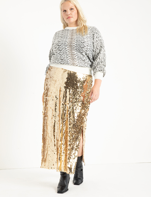 Sequin Maxi Skirt with Slit
