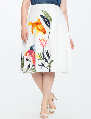 Studio Embroidered Wrap Skirt