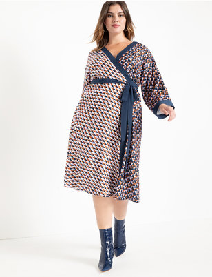 Dropped Shoulder Kimono Wrap Dress