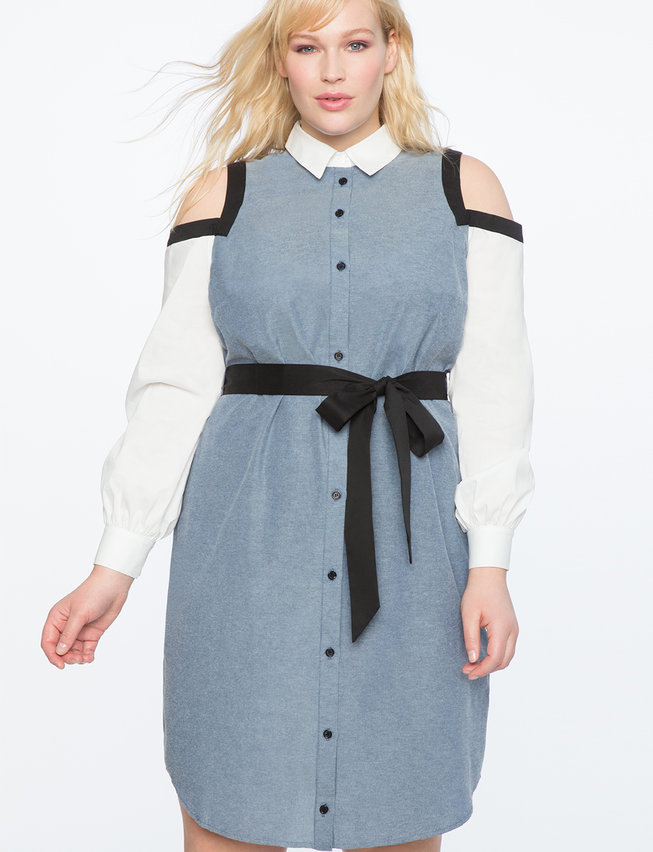 Cold Shoulder Contrast Dress