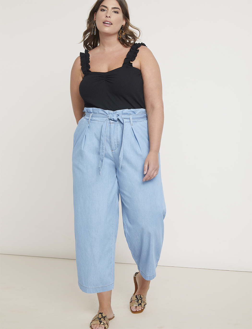 Chambray Paperbag Waist Culotte