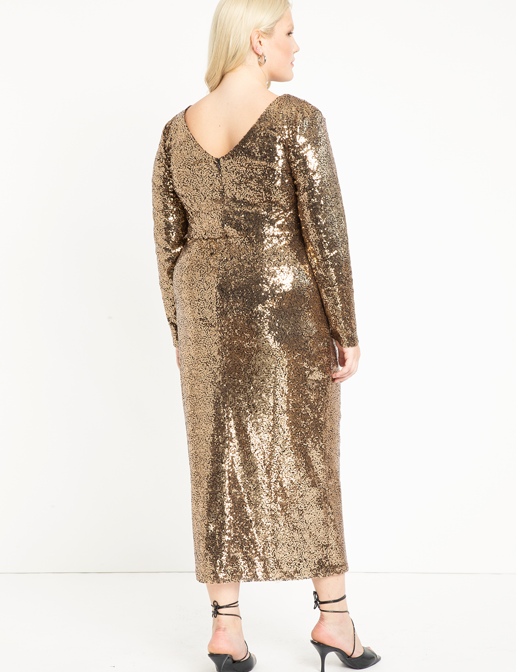 Sequin Maxi Dress with Wrap Skirt