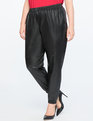 Faux Leather Track Pant Black