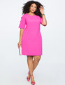 Slit Sleeve Dress with Bow Detail BRIGHT MAGENTA