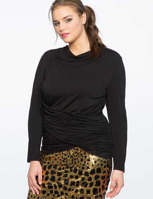 Ruched Cross Front Long Sleeve Top