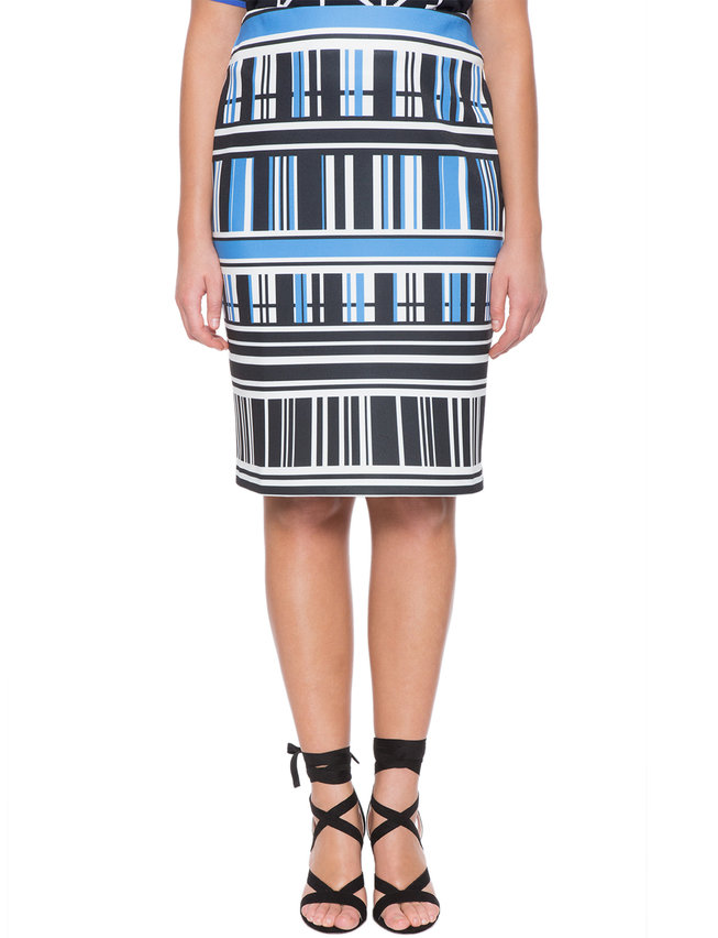 Abstract Printed Pencil Skirt