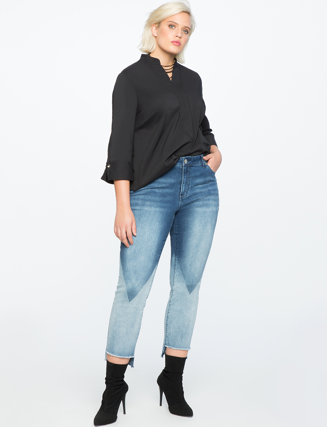 Button Cuff High Low Top