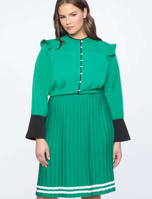 Pleated Contrast Cuff Dress
