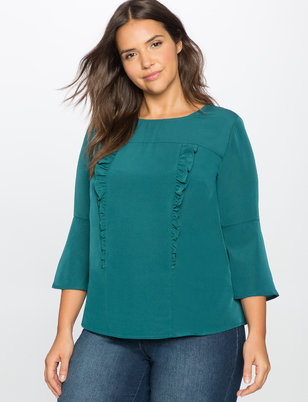 Ruffle Front Flare Sleeve Blouse