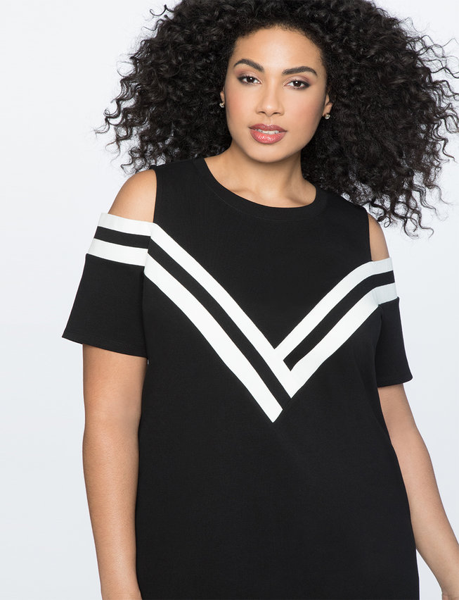 Flare Sleeve Sporty Collared Dress