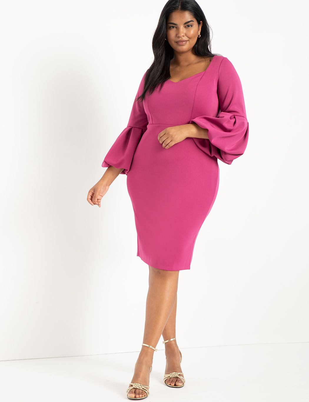 Sweetheart Balloon Sleeve Dress