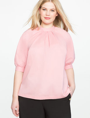 Pleat Front Puff Sleeve Blouse