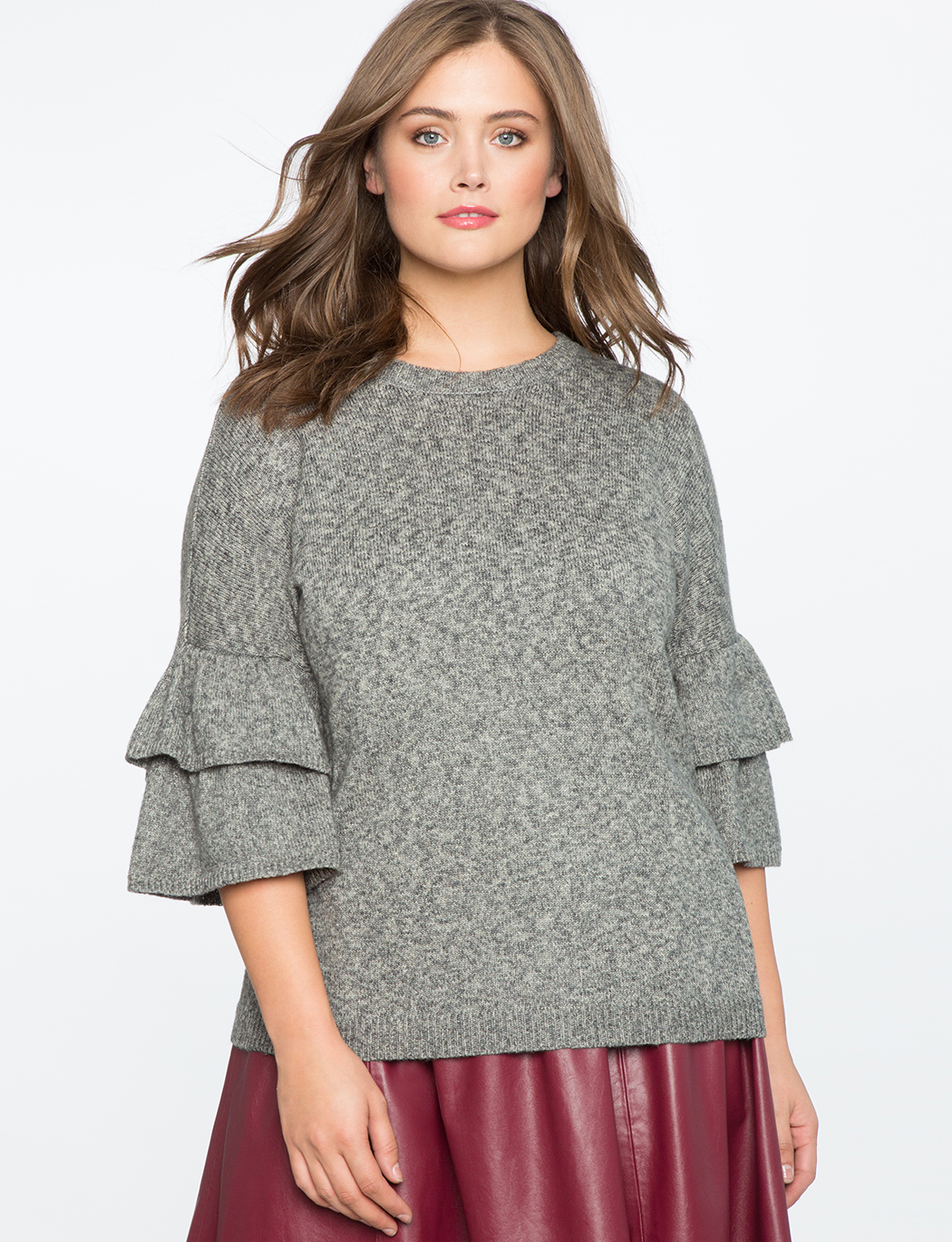 8e7f1347fc9 Tiered Ruffle Sleeve Sweater | Women's Plus Size Tops | ELOQUII
