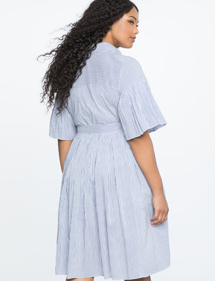 Pleated Sleeve Fit & Flare Shirtdress