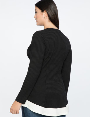 Ribbed Long Sleeve Top with Contrast Trim