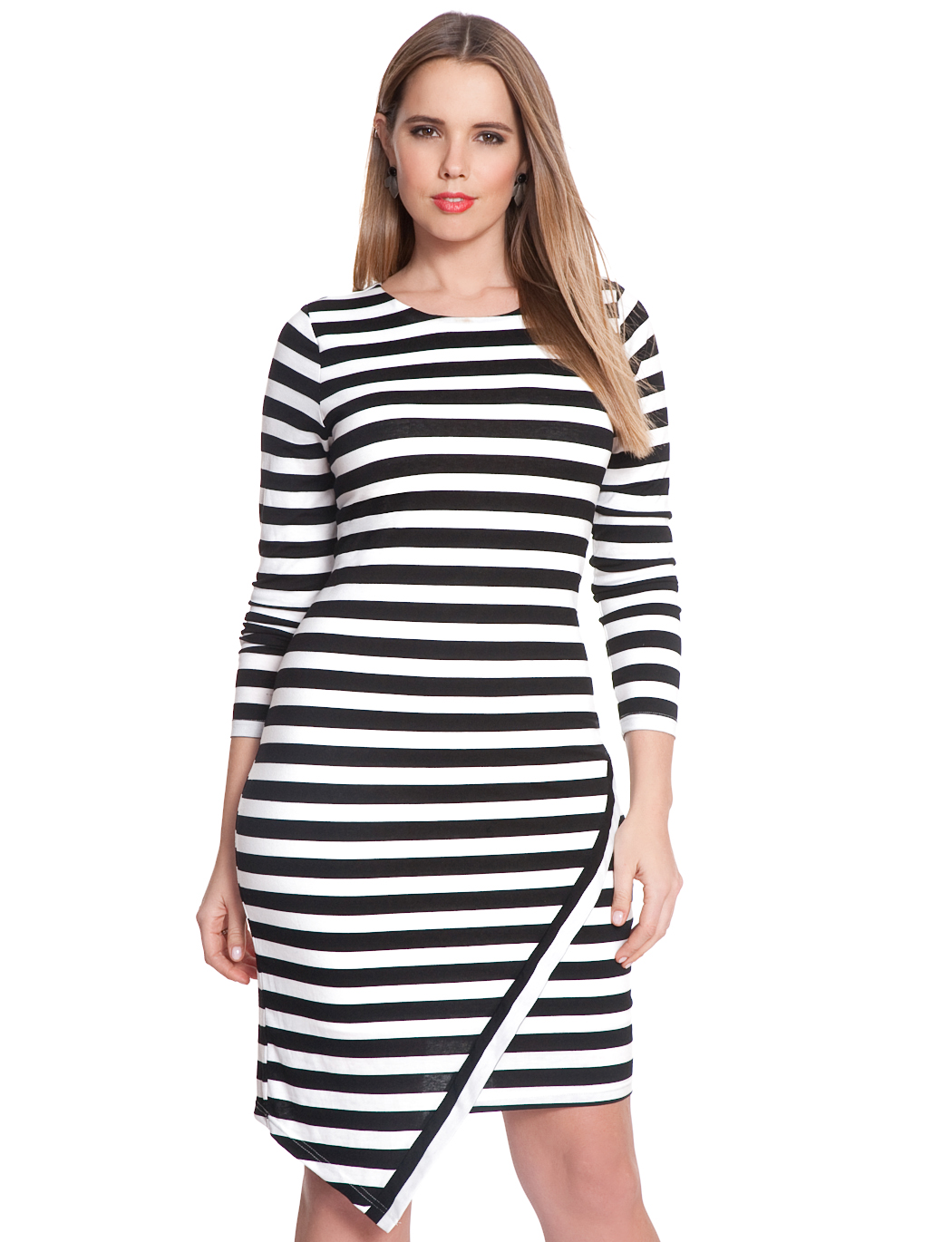 Asymmetrical Hem Striped Dress | Women\'s Plus Size Dresses | ELOQUII