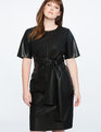 Studio Tie Waist Faux Leather Dress Totally Black